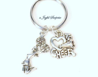 Cheerleading Key Chain, Gift For Cheerleader Keyring, Cheer mom Keychain, Teammate team Coach charm planner purse charm jewelry teen girl