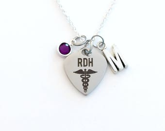RDH Necklace, Gift for Registered Dental Hygienist Jewelry, Dentist Graduation Birthday Present Birthstone initial letter her silver him