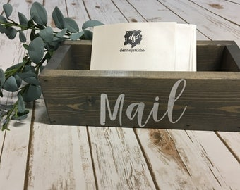 Mail Box | Wooden Mail Box | Wooden Card Holder | Custom Wood Box | Desk Organizer | Mail Holder | Denneystudio