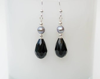 Silver, Pearl and Black Crystal Drop Earrings - Sterling Silver Earrings with Silver Grey Freshwater Pearls and Jet Black Crystal Drops