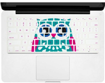"""Keyboard Cover Silicone Skin for MacBook Pro 13"""" 15"""" 17"""" (with or w/out Retina Display) iMac and MacBook Air 13"""" (blue owl)"""