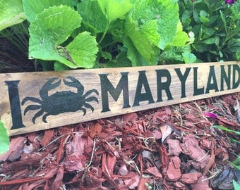 Maryland Crab Wooden Sign