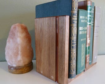 Handcrafted Solid Wood Bookends with Stripe of Colored Epoxy Inlay Rainbow Color Choices in Birch Poplar Walnut Pine Wooden Book Ends Pair