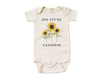"Organic ""You Are My Sunshine"" Unbleached Snappie / Bodysuit"