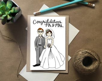 Bride and Groom Card, Wedding Card, Congratulations Wedding Card, Mr. and Mrs. Card, Wedding Congratulations