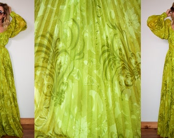 Vintage 50s ANNE FOGARTY STuNNiNG Green Pleated Maxi Dress S/M