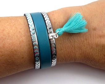 Sterling silver bracelet and mother of Pearl, metallic turquoise leather patterned, cotton tassel