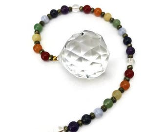 Chakra Sun Catcher, Gemstone Chakra Rainbow Maker, Crystal Prism, Feng Shui Cure, Crystal Ball, Chakra Window Hanging, Hanging Crystal