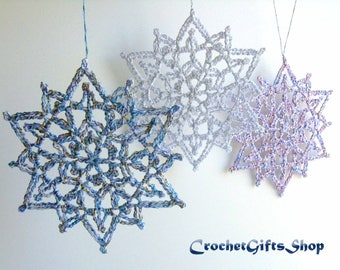 Christmas Snowflake Crochet PATTERNS Ornaments PDF Pattern Instant Download Lace snowflakes Christmas gift Christmas Decoration Home Decor