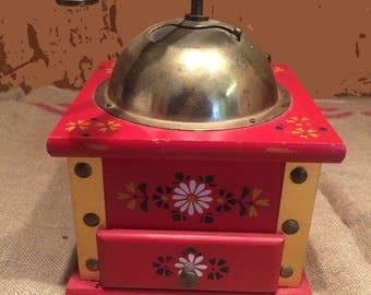 coffee grinder in wood, painted