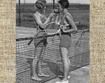 Vintage photograph, black and white photo print, vintage beauties, vintage fitness, two girls smoking during a tennis match