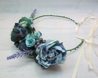 Wedding crown boho Rustic hairpiece Hair bridal crown Wedding flower halo Flower crown boho Headband bridesmaid Flower wreath Head piece
