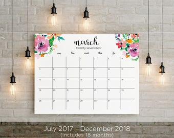 2017-2018 Planner Big Wall Calendar Printable 18 Months instant gift Floral Watercolor Horizontal Wall Desk Frame Letter Size 8,5 x 11 in/A1