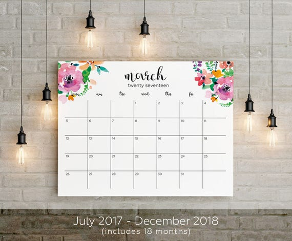 2017-2018 Planner Big Wall Calendar Printable French Spanish