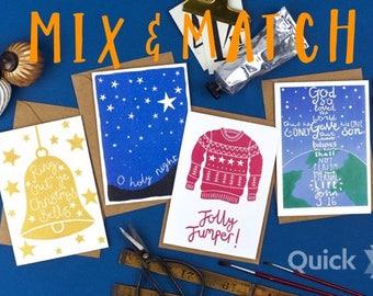 Mix & Match 10 CHRISTMAS Cards / Occasion Cards / Christmas Cards / Festive Cards / Seasonal Cards
