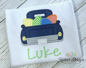 Easter Truck Applique - Boy Easter Shirt - Easter Eggs - Personalized, Embroidered, Monogrammed - Boys Easter Shirt or Bodysuit