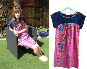 Summer Batik Pink Dress UK Size 10