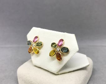 14K Yellow Gold Natural Sapphire (5.70 ct) Floral Diamond Earrings, Appraised 2,900 CAD