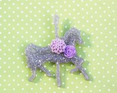Disneybound Carousel Horse  Brooch- Pinup Brooch -  Silver and Lavender Jolly Holiday Carousel Horse Brooch