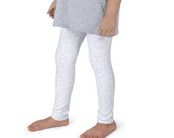 Kids Leggings, Cute White Leggings for Girls, Children's Printed Yoga Pants