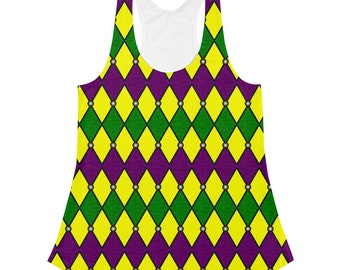 Mardi Gras Shirt Women, Stretchy Sleeveless Jester Top, Harlequin Pattern Tank Top Costumes