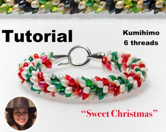 Kumihimo pattern tutorial 6 threads  Sweet Christmas bracelet Kumihimo Style