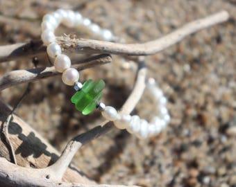 Sea Glass Pearly Bracelet