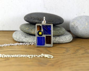 Blue Mosaic Pendant, Blue Pendant, Brown Pendant, Mosaic Necklace, Mosaic Jewellery, Unusual Pendant, Gift for Her, Star Pendant