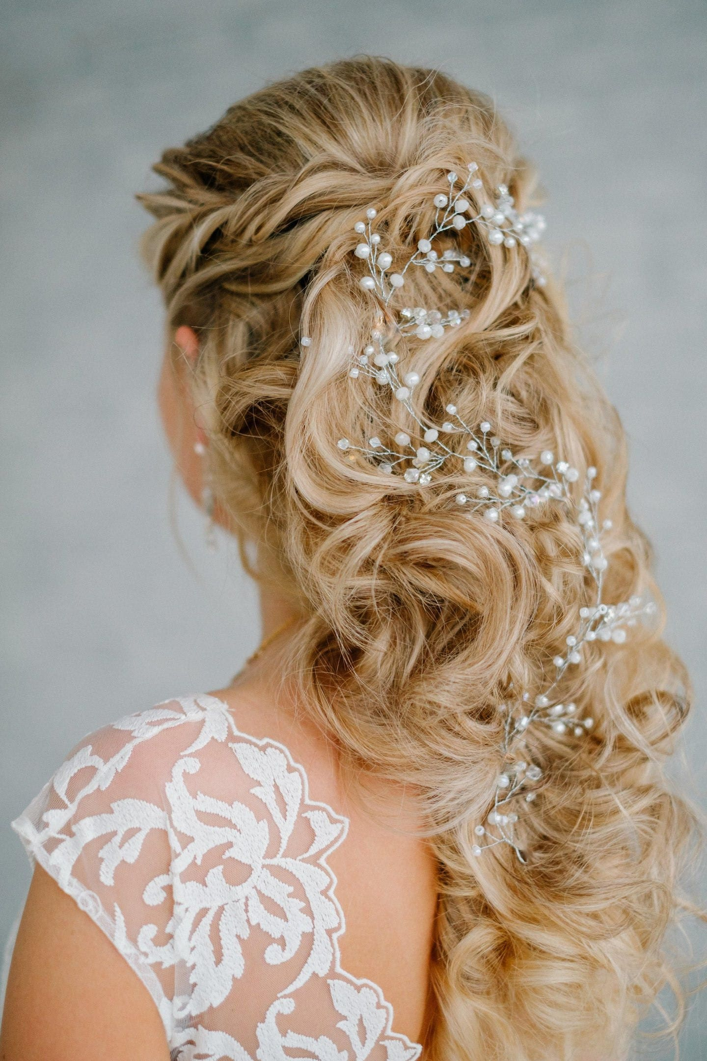 any hair style bridal extralong pearl hair vine bridal hair vine 7711