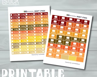 Printable Date Covers -  Fall Colors Date Cover Ups Planner Stickers for Erin Condren and Happy Planners - With Cut Files