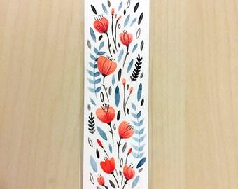 ORIGINAL Floral Bookmark - Hand Painted Watercolour - Design 3