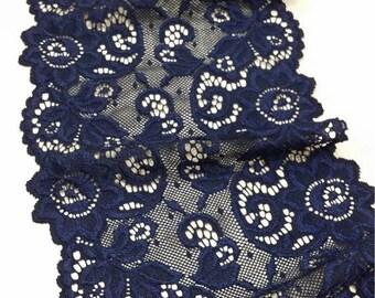 Blue stretsch lace Trim, Elastic lace trim, Chantilly Lace, French Lace, Bridal lace, Wedding Lace, Scalloped Eyelash lace, Lingerie Lace