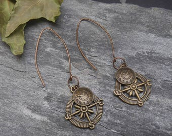 Steampunk earrings, compass rose and watch, steampunk travel