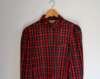 Vintage 1980's Red and Green Plaid Long Sleeved Top - Roger Van S