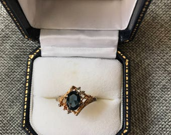 Dark Blue Crystal with Gold Band Ring // Gift for Her