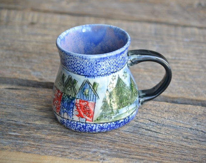 Tiny little colorful houses handmade one of a kind pottery mug blue patchwork