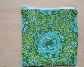 Green Butterfly Pouch//Blue and Green Zipper Pouch//