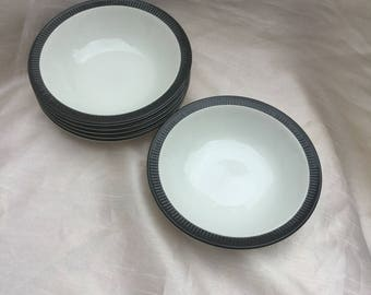 Vintage 1960s Poole Pottery Set of Six Bowls - Charcoal