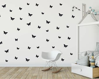 "3 sizes 48 Butterflies Wall Decal 2"", Peel And Stick, For girl room Vinyl Decal, Butterfly Decal, Wall Sticker, Nursery Decal, Kids decal"