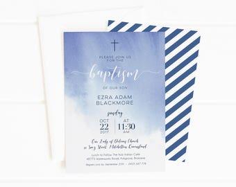 Baptism Watercolor Invitation | Baptism Invitation Boy | Baptism Invite | Christening Invitations | Baptism Invitations Printable