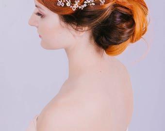 SAMPLE SALE Gold vine, wedding hair vine, crystal headband, bridal accessory, delicate hair vine, crystal hair vine, bridal hair jewelry