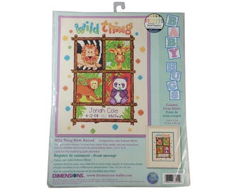 """Wild Thing Birth Record - 9"""" x 12"""" Counted Cross Stitch - Dimensions Baby Hugs 73250 - new baby cross stitch"""
