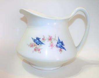 Harker Pottery China Bluebird Pitcher ~ Antique Large Serving w/ Blue Birds Pink Flowers / Blossoms ~ c1900 Semi Porcelain Water Juice Gravy