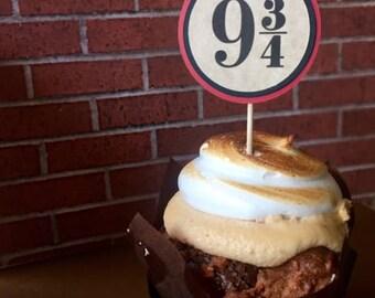 12 Harry Potter Birthday Cupcake Topper *Platform 9 3/4*