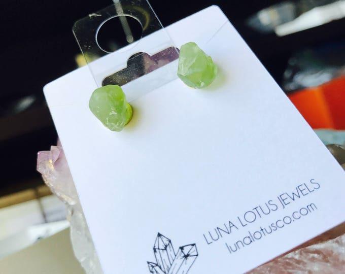 Raw Peridot Green Stone Crystal Stud Earrings | August Birthstone