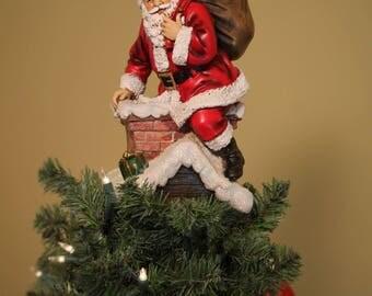 Unique Tree Topper - Santa in Chimney