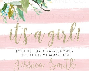 Floral, Gold and Pink Baby Shower Invitation | It's a Girl | Baby Shower