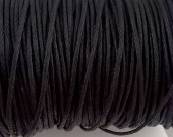 Coated cotton cord 1 mm black