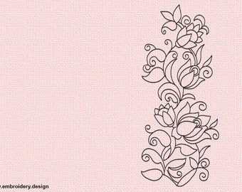 Floral ornament embroidery design - downloadable - 3 sizes