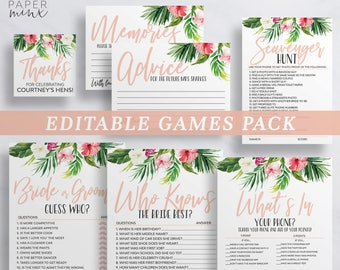 Tropical Bachelorette Games   Hens Games   Editable Games   Game Pack   How Well Do You Know The Bride   Bride or Groom   Scavenger Hunt